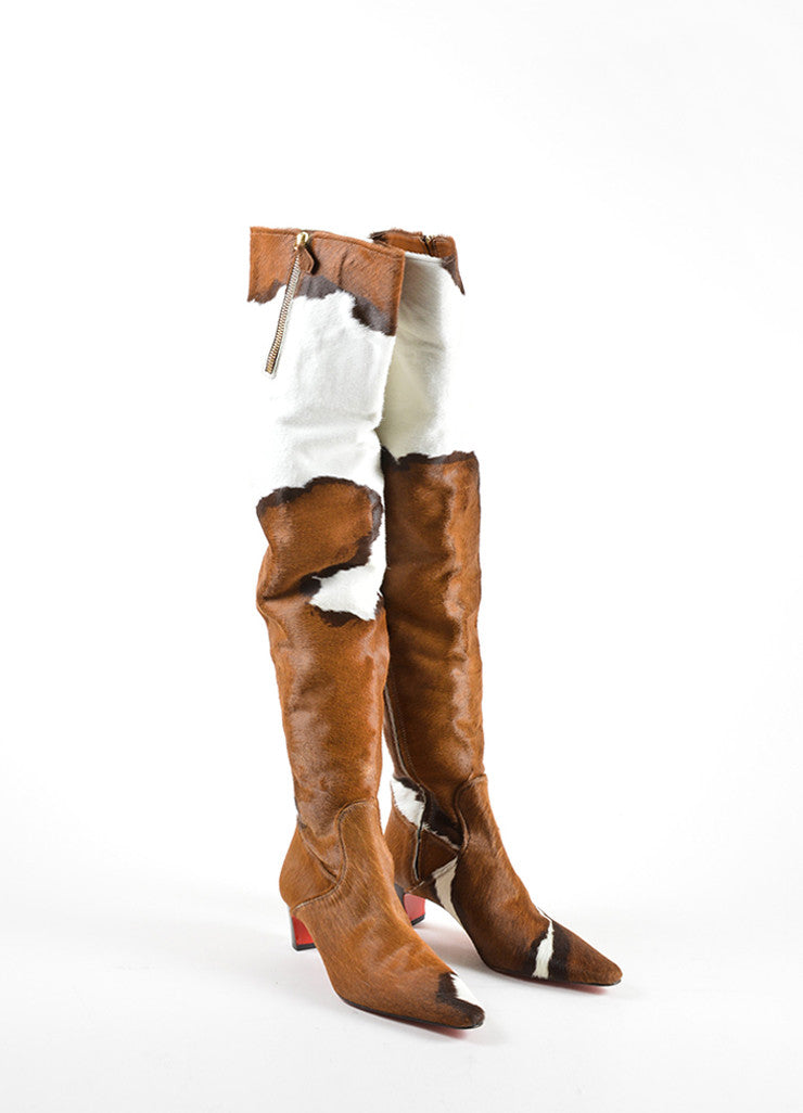 Christian Louboutin Brown and White Pony Hair Over the Knee Boots Frontview