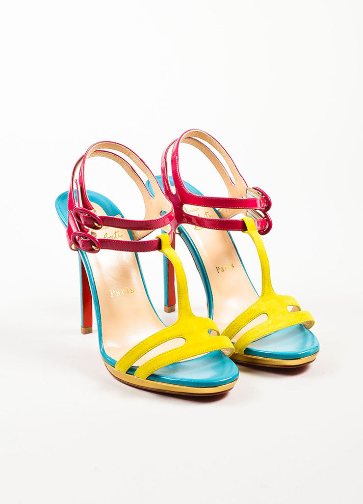 "Christian Louboutin Pink and Blue Leather T-Strap ""Double Tutti"" Sandals Frontview"