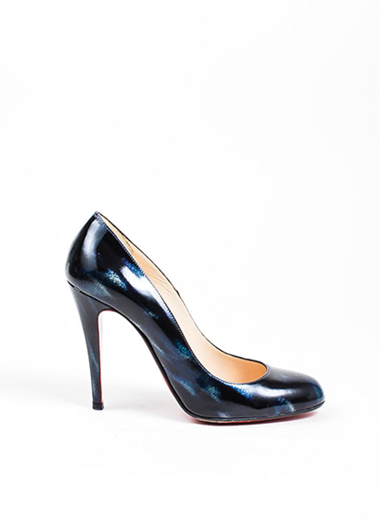 Black Blue Christian Louboutin Patent Leather Pumps Side