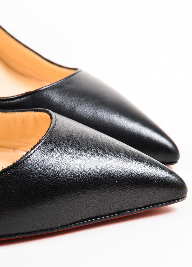 "Christian Louboutin Black Leather ""Pigalle 100"" Pointed Toe Pumps Detail 2"