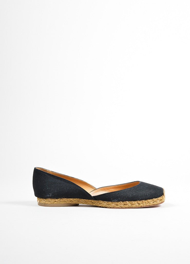 "Black and Taupe Christian Louboutin Canvas Jute Flat ""Bailarina"" Espadrilles Sideview"