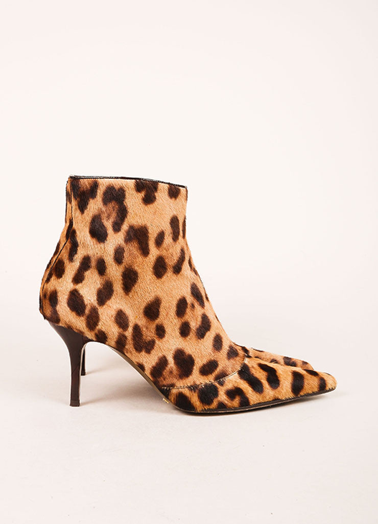 Dolce & Gabbana Multi Brown Cheetah Print Pony Hair Pointed Toe Ankle Boots Sideview