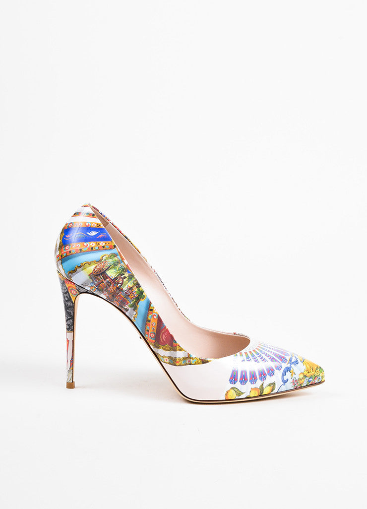 Dolce & Gabbana Beige and Multicolor Leather Print Pointed Toe Pumps Sideview