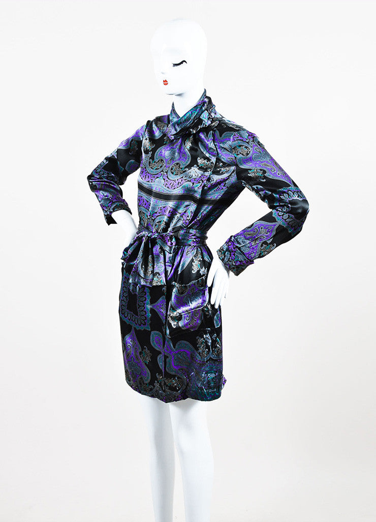 Grey, Purple, and Black Etro Silk Paisley Print Tie Neck Long Sleeve Dress Sideview