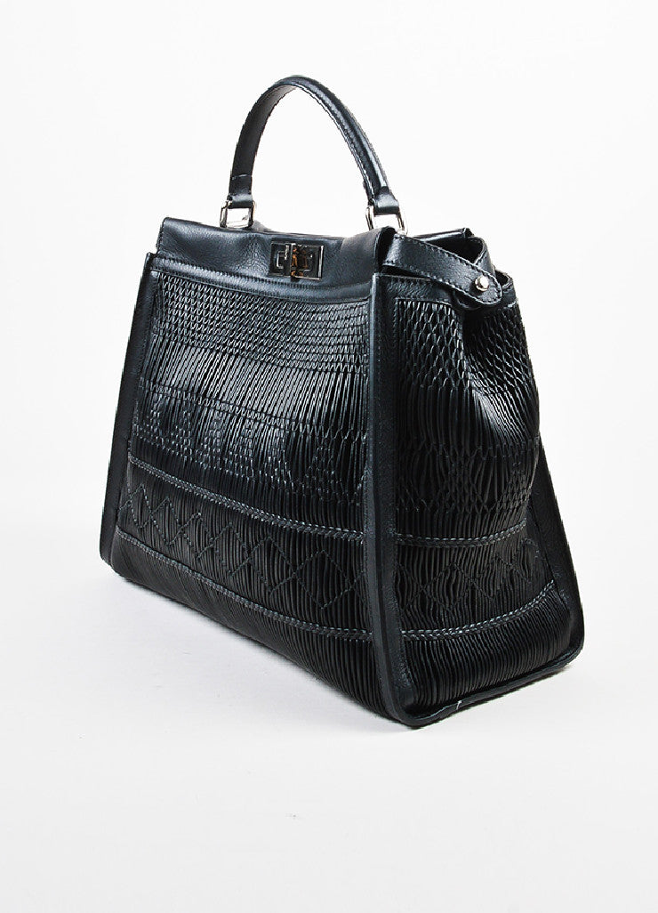 "Fendi Black Pleated Leather Multi Handle ""Large Peekaboo"" Tote Bag Sideview"