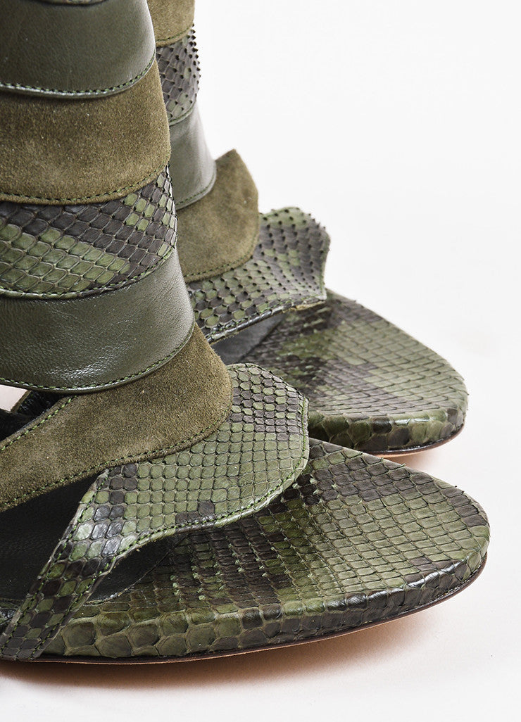 "Olive Green Gucci Python Leather Cage Heeled ""Soraya"" Sandals Detail"