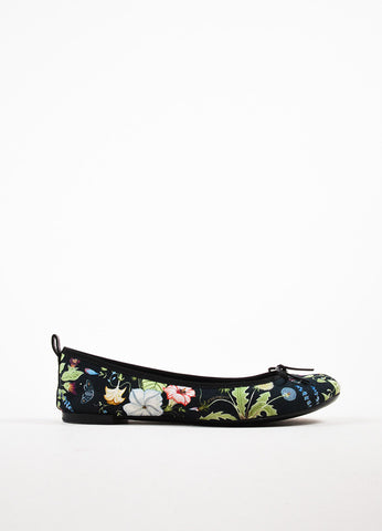 Gucci Black, Green, and Blue Canvas Floral Print Bow Front Ballet Flats Sideview