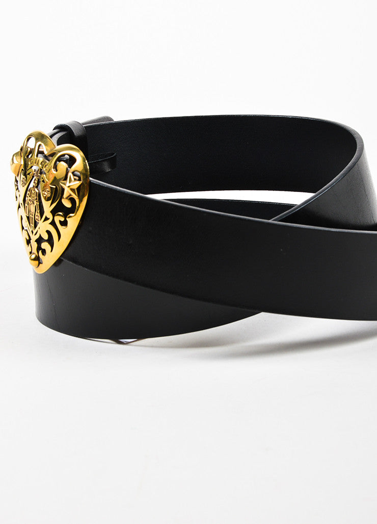 Gucci Black Leather Gold Toned Cut Out Logo Heart Belt Sideview