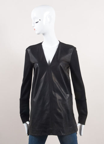 Helmut Lang New With Tags Black Leather and Wool Long Sleeve V-Neck Top Frontview