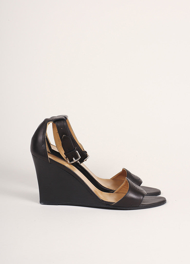 "Hermes Dark Brown Leather ""H"" Wedge Sandals Sideview"