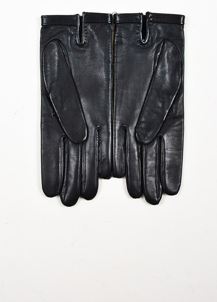 "Hermes Black Lambskin Leather Silver Toned ""H"" Gloves Backview"