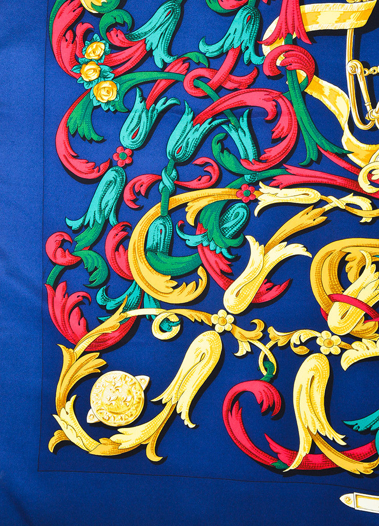 "Hermes Navy Blue and Multicolor Silk Print ""Le Mors ""A La Conetable"" 90cm Scarf Detail"