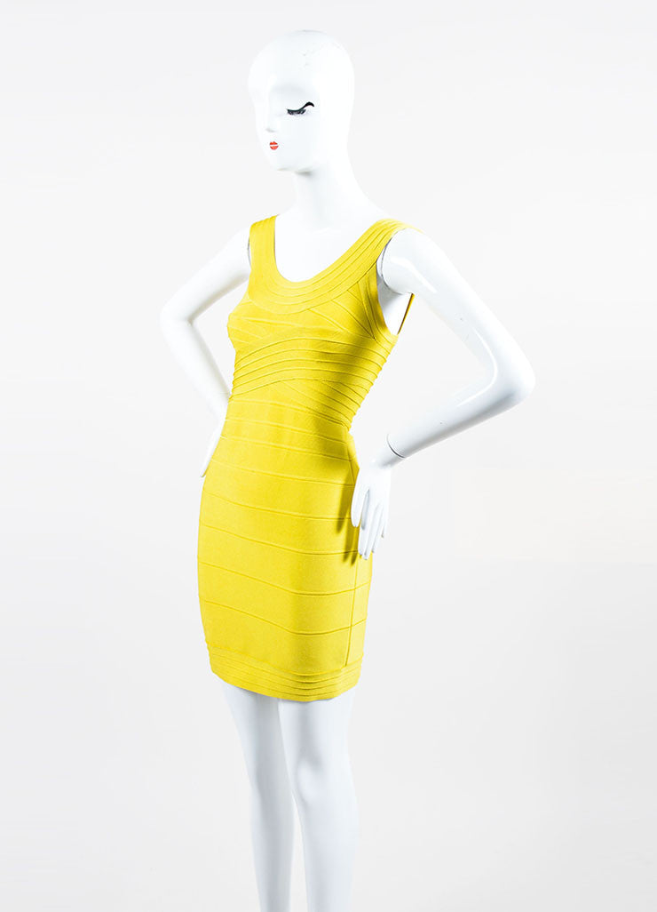 Yellow Herve Leger Bandage Stretch Knit Sleeveless Bodycon Dress Sideview