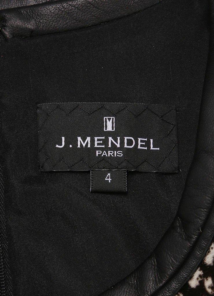 J. Mendel New With Tags Black and White Haircalf Leather Dropped Waist Dress Brand