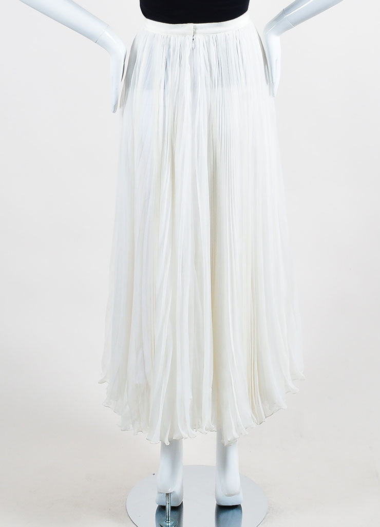 Ivory White J. Mendel Silk Chiffon Accordion Pleated Maxi Skirt Backview