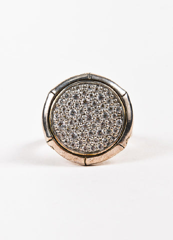 "John Hardy Sterling Silver and Pave White Topaz ""Lava Disc"" Cocktail Ring Frontview"