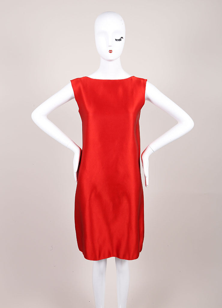 Lanvin Red Silk Draped Back Sleeveless Shift Dress Frontview