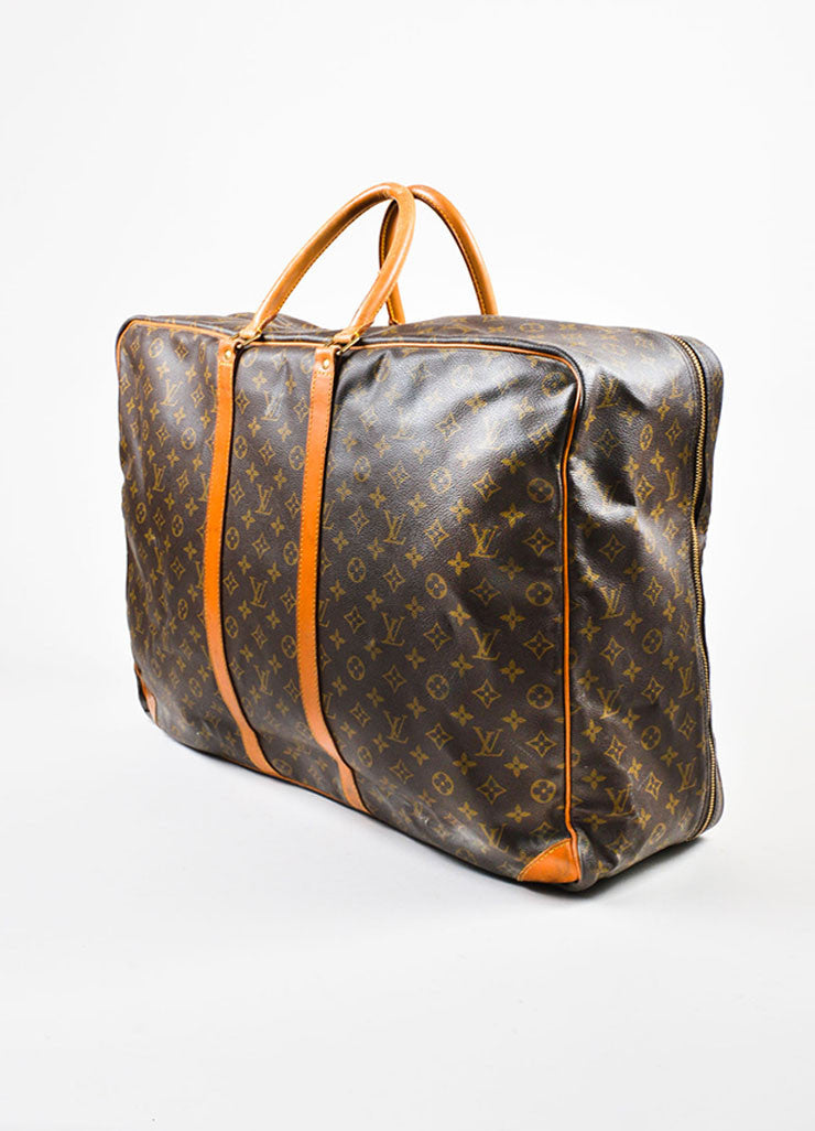 "Louis Vuitton Brown and Tan Monogram Canvas ""Sirius 60"" Suitcase Luggage Sideview"