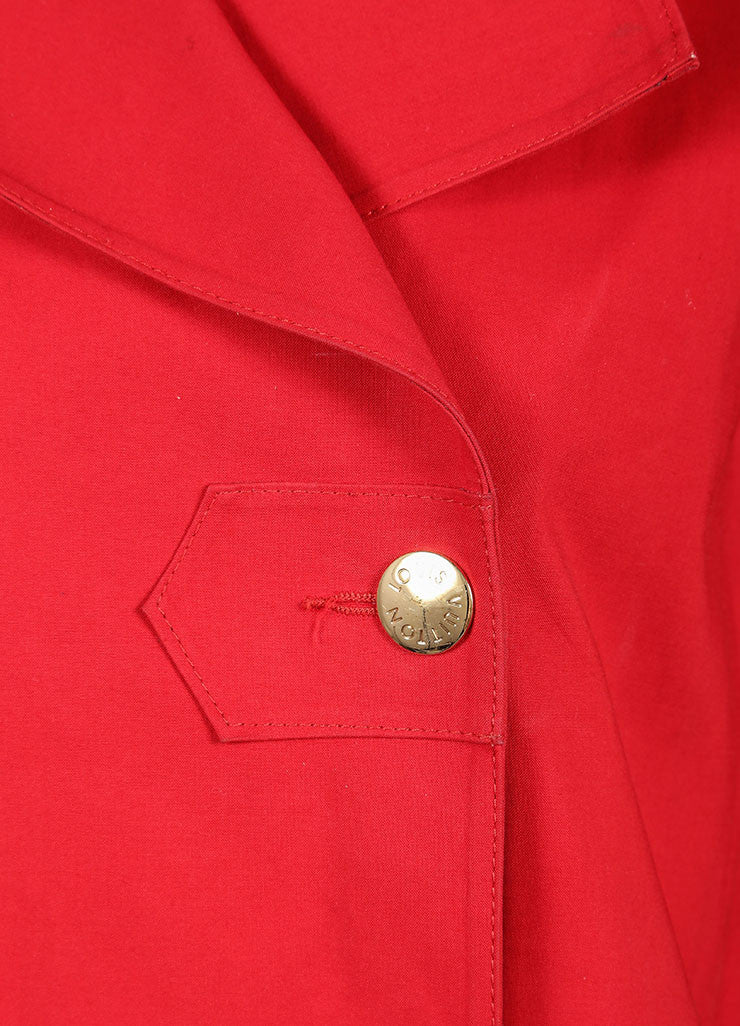 "Louis Vuitton Red Cotton Double Breasted ""Mackintosh"" Short Trench Coat Detail"