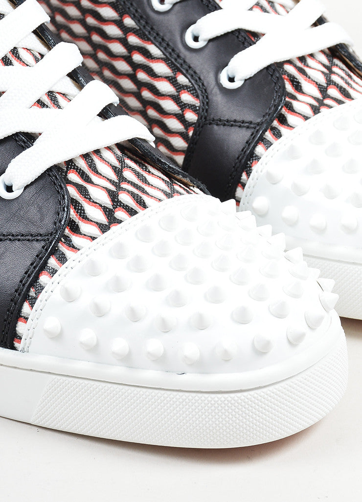 "Men's Christian Louboutin Black, White, and Red ""Lou Spike"" Hi Top Sneakers Detail"
