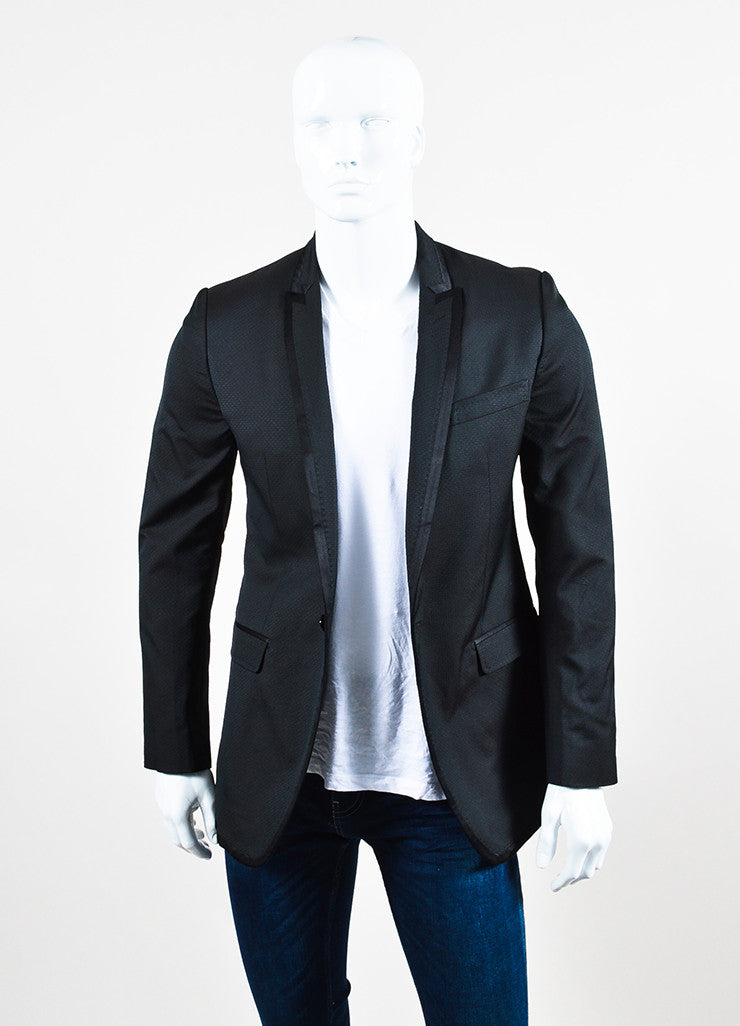 Men's Dolce & Gabbana Black Diamond Patterned Evening Jacket  Front