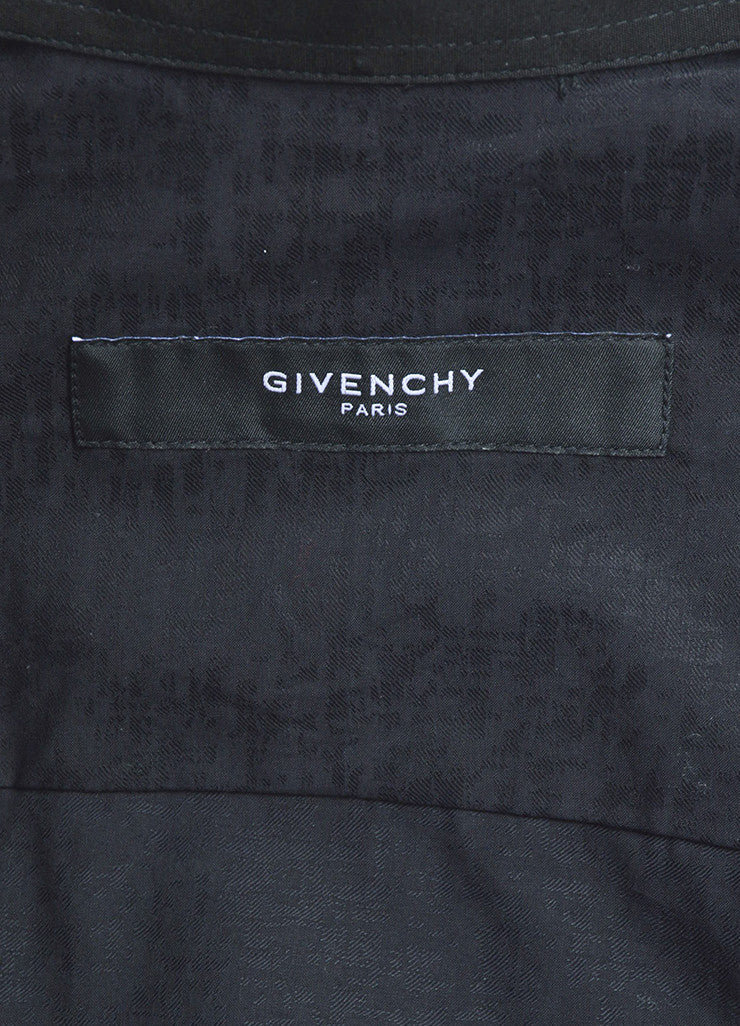 Men's Givenchy Black Cotton Button Down Layer Collar Long Sleeve Shirt Brand