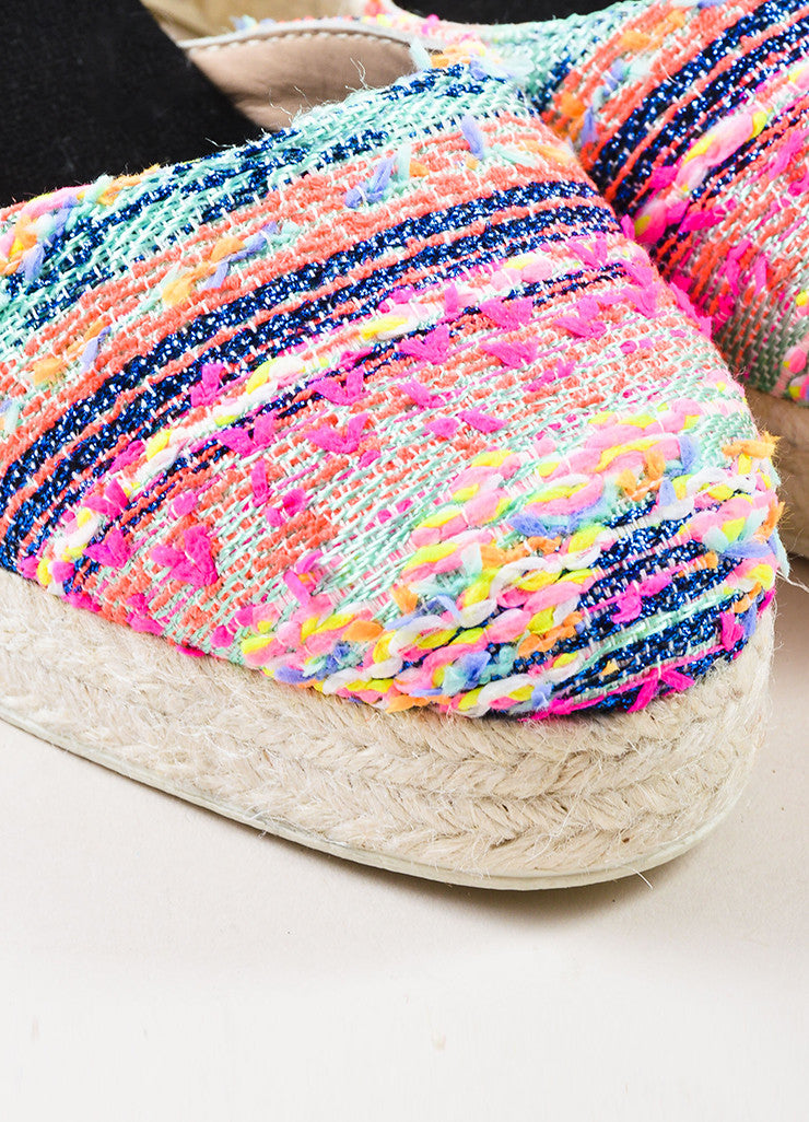 Manebi Pink and Multicolor Tweed Ankle Wrap Espadrille Wedge Heels Detail