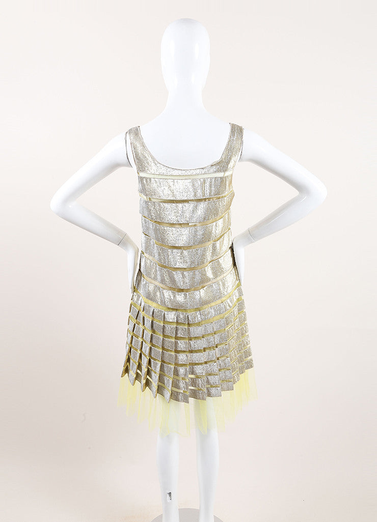 Marc Jacobs Yellow and Gold Metallic Striped Pleated Sleeveless Dress Backview