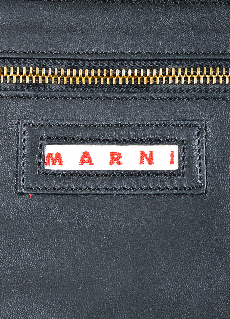 Marni Dark Green, Navy, and Black Leather Color Block Oversized Hobo Bag Brand