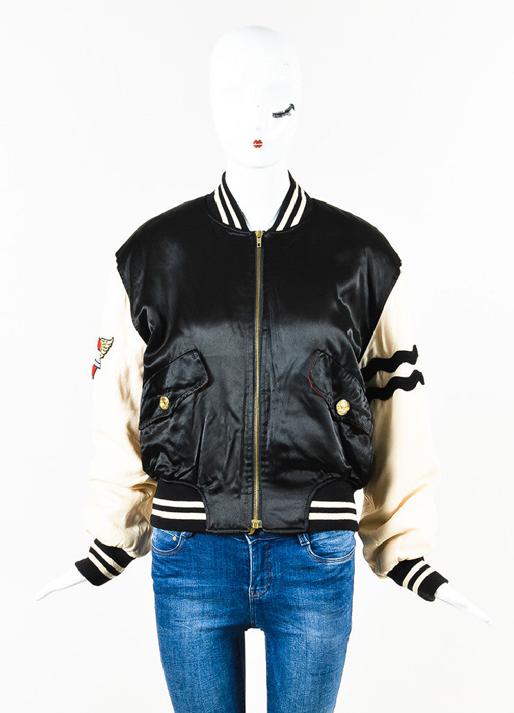 "Moschino Cheap and Chic Black and Cream Satin ""4 Your Eyes Only"" Bomber Jacket Frontview"