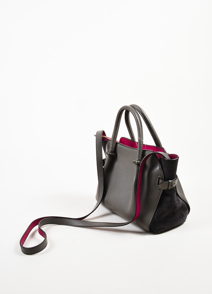 "Nina Ricci Grey and Magenta Leather ""Le Marche"" Shoulder Bag Sideview"