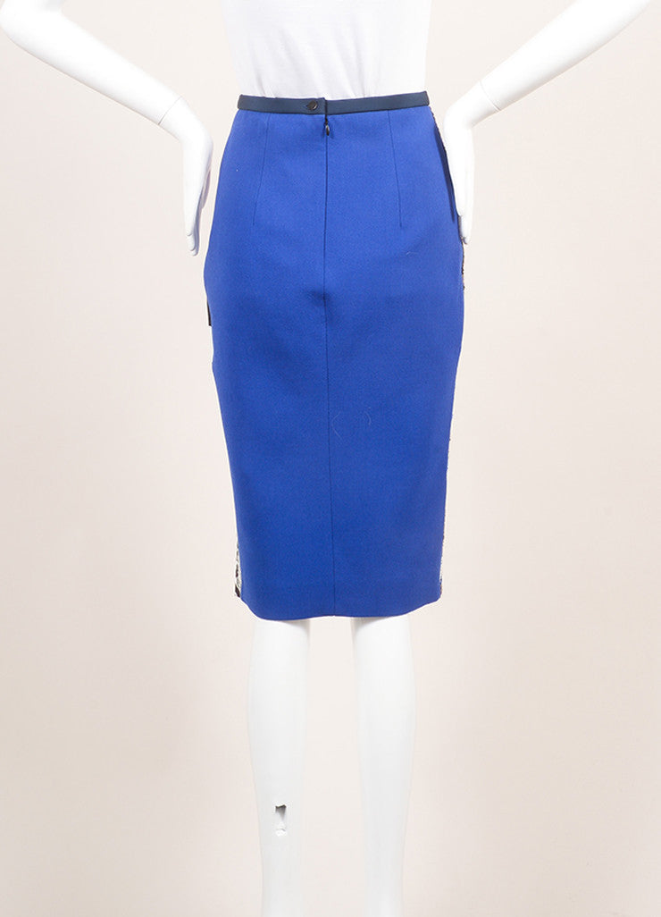 Peter Pilotto New With Tags Royal Blue and Black Wool Woven Tweed Printed Skirt Backview