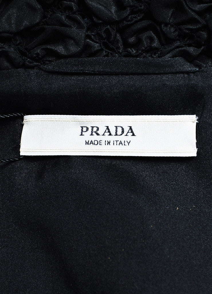 Prada Black Silk Blend Smocked Half Sleeve Elastic Waist Crop Jacket Brand