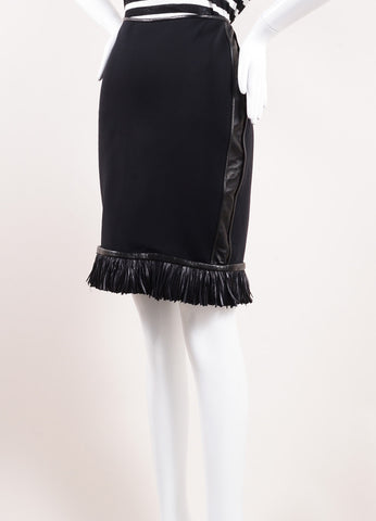 Reed Krakoff Black Neoprene and Leather Fringe Feather Pencil Skirt Sideview