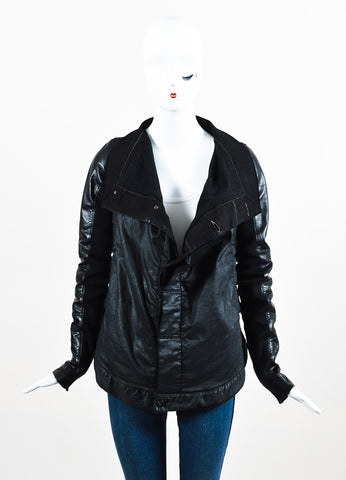 Rick Owens Black Waxed Denim Leather Sleeve Buttoned Jacket Frontview 2