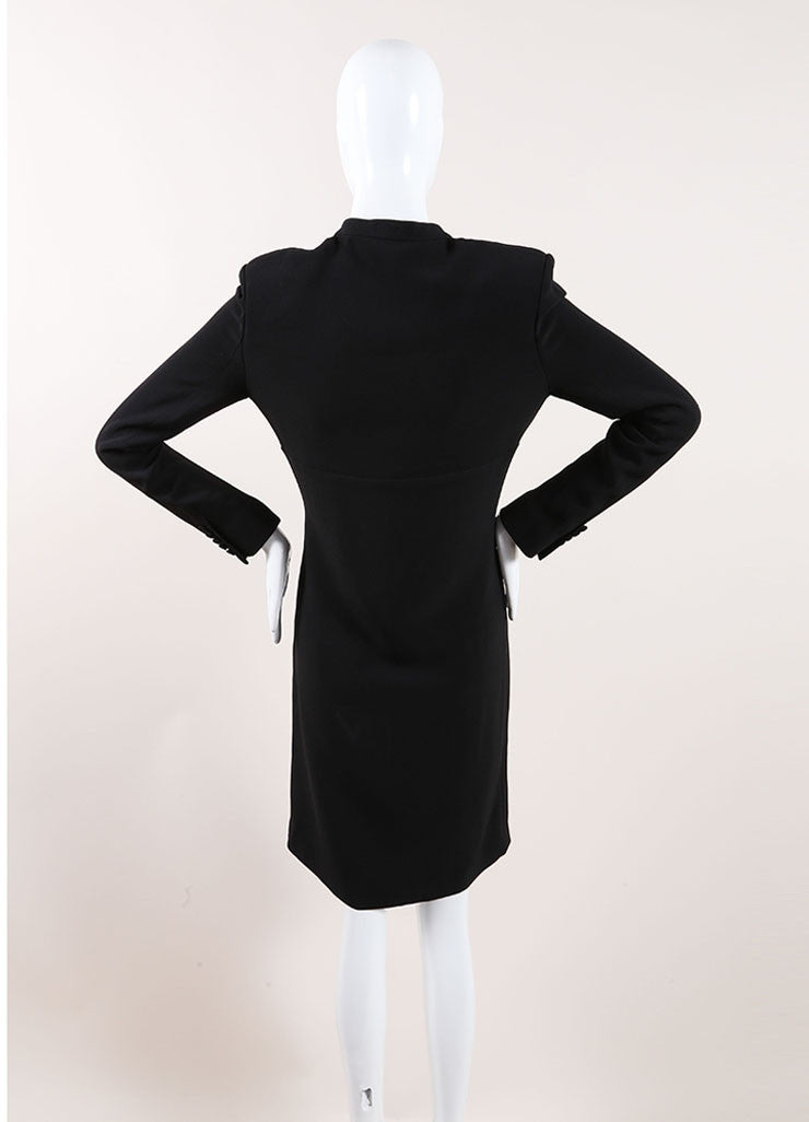 Saint Laurent Black Woven Long Sleeve Tie Collar Shift Dress Backview