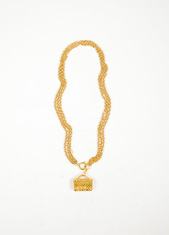 Gold Toned Chanel 'CC' Flap Bag Multi-Strand Necklace Front