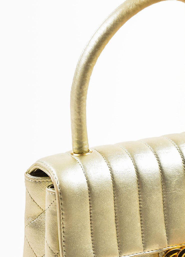 "Chanel Metallic Gold Leather Vertical Quilted ""Kelly Flap"" Handbag Detail 2"