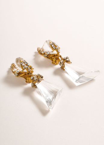 Miriam Haskell Gold Toned and Clear Lucite Drop and Rhinestone Earrings Sideview
