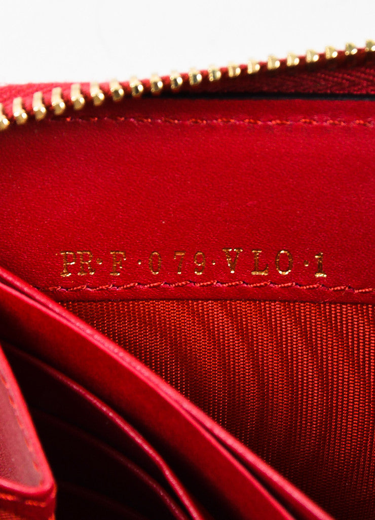 Valentino Red Leather Rockstud Zip Around Continental Wallet Serial
