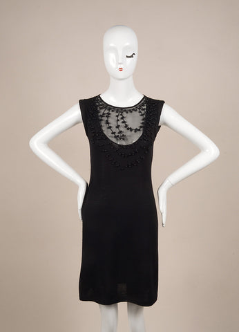 Valentino Black Bead Embellished Wool, Silk, and Cashmere Sleeveless Knit Dress Frontview