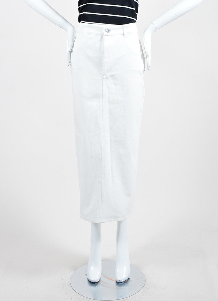 White ‰ۢÌöÌÛVictoria Beckham Jeans Denim Slit Midi Pencil Skirt Frontview
