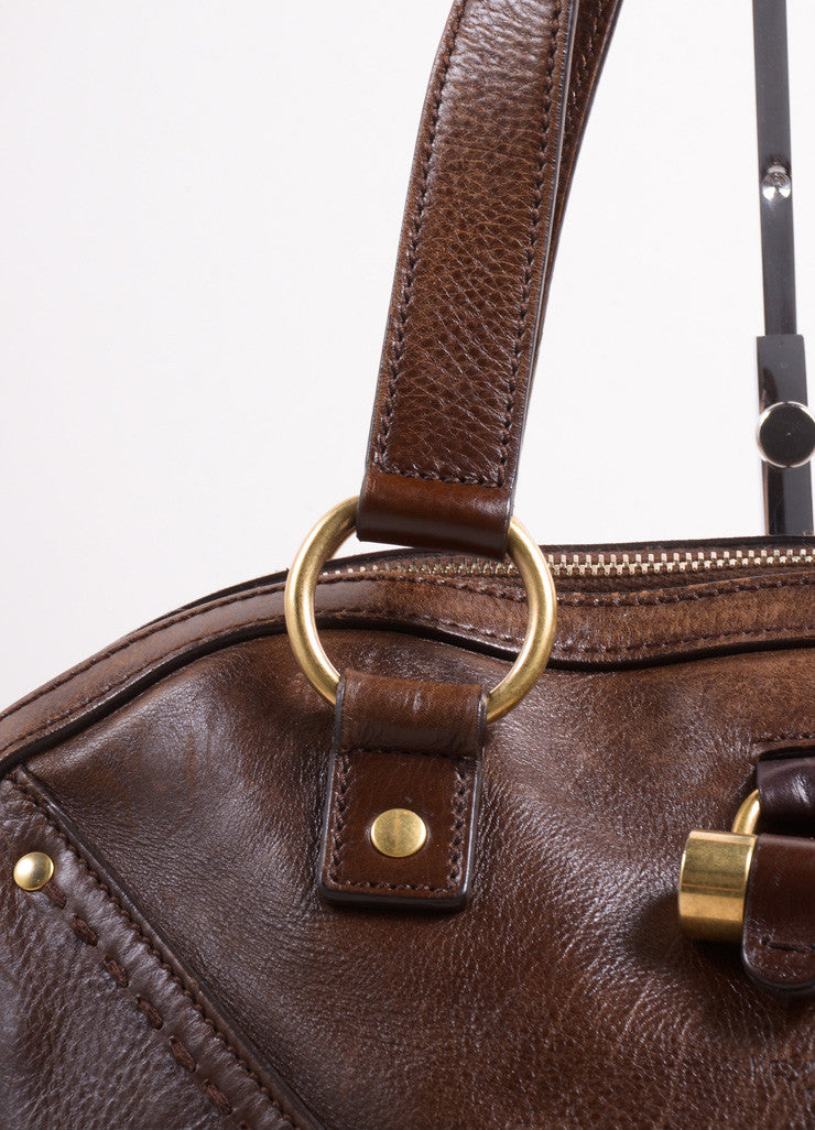 "Yves Saint Laurent Brown Leather ""Muse"" Shoulder Bag Detail 2"