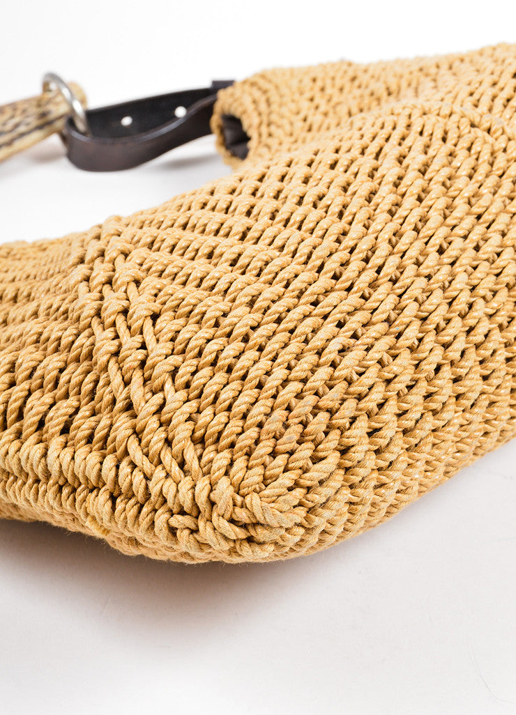 "Yves Saint Laurent Tan and Brown Woven Horn Handle Shoulder ""Mombasa"" Bag Detail"