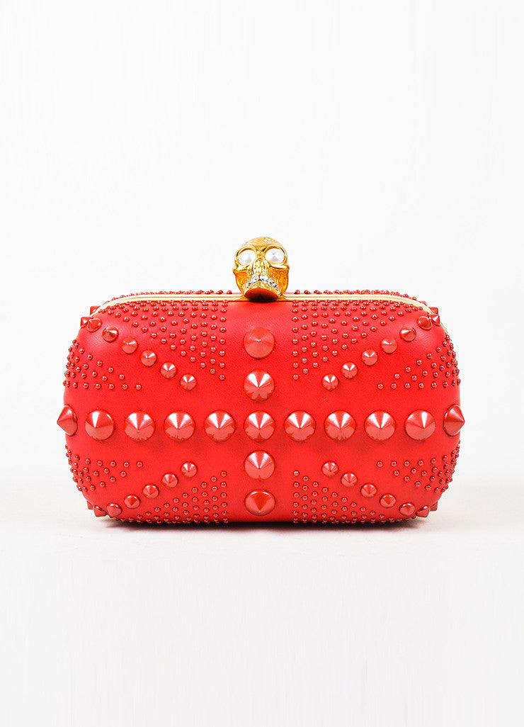 "Alexander McQueen Red Spike Studded ""Britannia Classic Skull"" Clutch Bag Frontview"