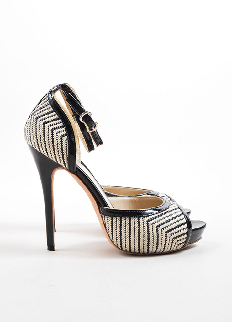 Alexander McQueen Black and White Woven Open Toe Pumps Side