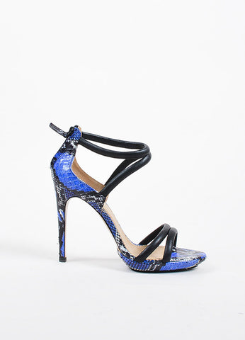 Aquazzura Black, Blue, and White Snakeskin Strappy Sandal Heels Sideview