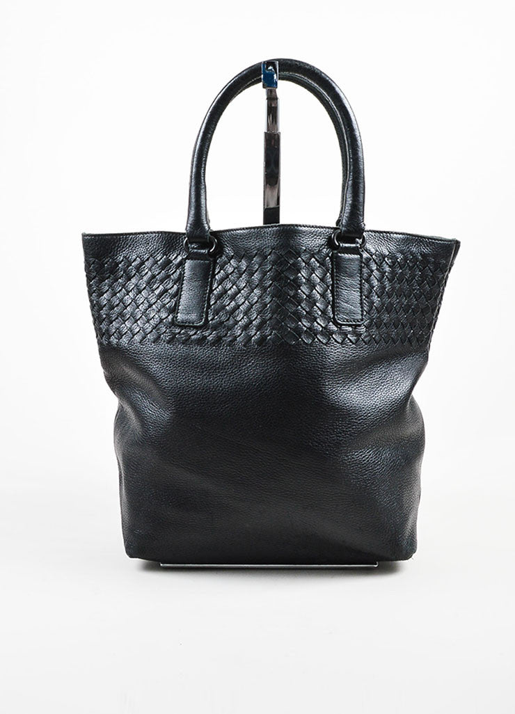 Black Bottega Veneta Leather Intrecciao Weave Detail Tote Bag Frontview