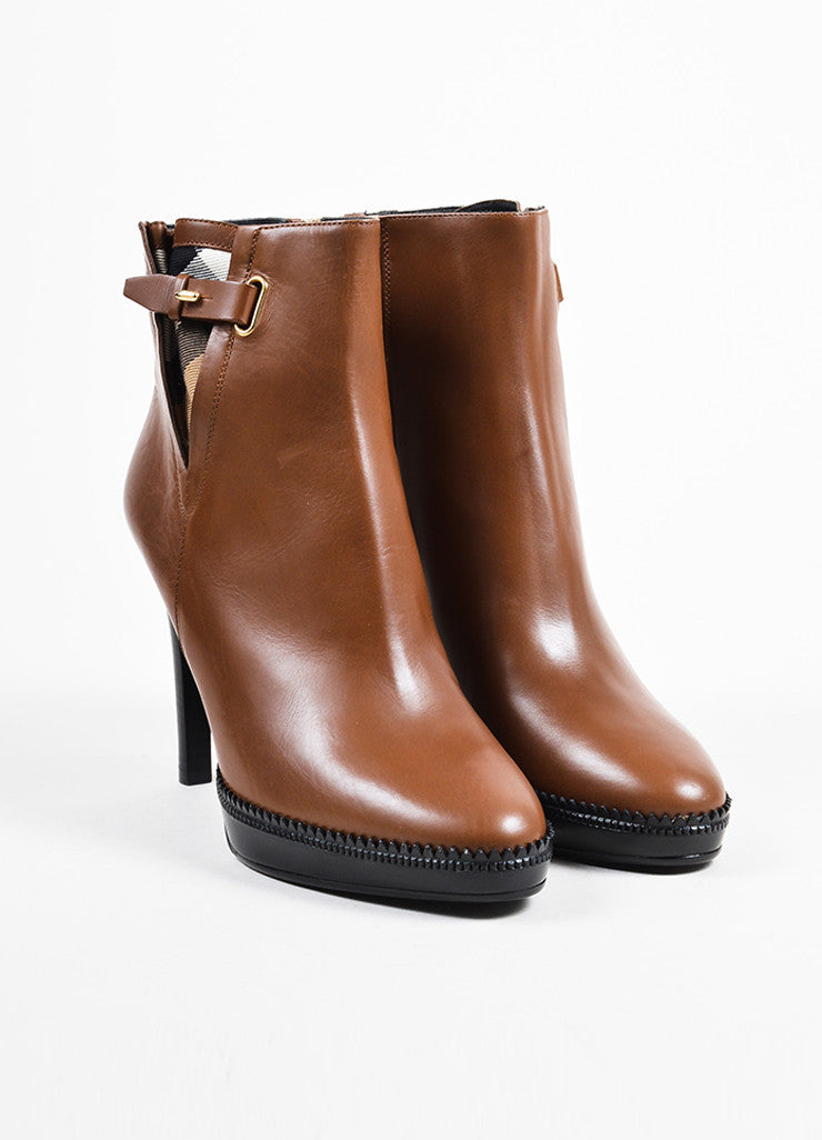 "Burberry ""Tan"" Brown Leather Platform ""Lysterfield"" Ankle Booties Frontview"