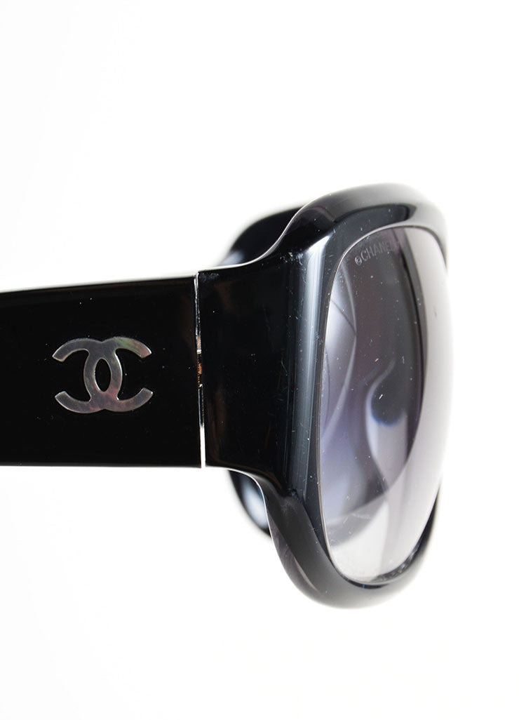 "Chanel Black Glossy ""CC"" Logo Oversized Oval Frame ""5226-H"" Sunglasses Detail"